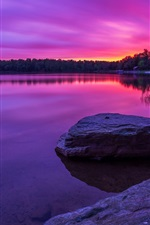 Preview iPhone wallpaper Purple sunset, forest, lake, rocks