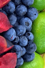 Preview iPhone wallpaper Rainbow fruits, strawberry, orange, banana, lemon, blackberry, plum