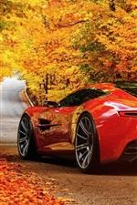 Red Aston Martin DBC concept car, road, autumn