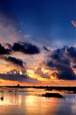 Preview iPhone wallpaper Sea, coast, sunset, clouds, grids