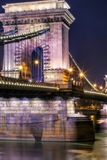 Preview iPhone wallpaper Szechenyi Chain Bridge, Budapest, Hungary, Danube river, night, lights