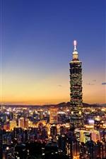 Taiwan, Taipei, city evening, sunset, houses, skyscrapers, lights
