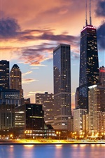 Preview iPhone wallpaper USA, Illinois, Chicago, city, buildings, lights, dusk