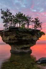 Preview iPhone wallpaper USA, Michigan, Lake Huron, rocks, trees, sunset