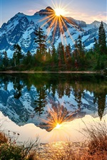 Preview iPhone wallpaper USA, Washington, Mount Baker volcano, lake, reflection, morning, sunrise, forest