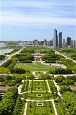 Preview iPhone wallpaper USA city, houses, buildings, park, grass, trees, road, coast