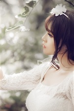 Preview iPhone wallpaper White dress girl, asian, catch apple
