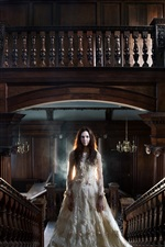 Preview iPhone wallpaper White dress girl, room, stairs, railings