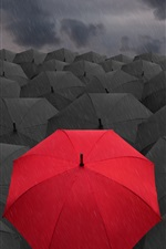 Preview iPhone wallpaper 3D black umbrellas, lonely red umbrella