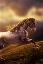 Art rendering, horse running