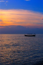 Preview iPhone wallpaper Asia, Cambodia, Otres beach, sea, boat, sunset