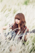Preview iPhone wallpaper Asian girl, grass, guitar, music