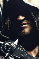 Preview iPhone wallpaper Assassin's Creed IV: Black Flag, face, shadow