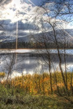Autumn, lake, trees, boat, sunlight