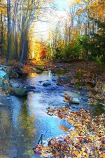 Preview iPhone wallpaper Autumn landscape, forest, trees, colorful, foliage, river, stones
