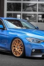 미리보기 iPhone 배경 화면 BMW F30 330D 파란색 자동차 측면보기