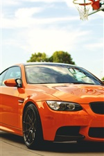 Preview iPhone wallpaper BMW M3 E92 orange car, basketball court