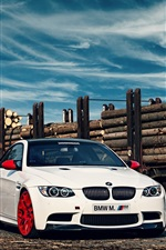 BMW M3 E92 white car in the railway station