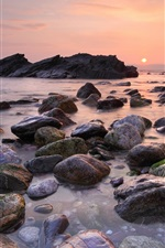 Preview iPhone wallpaper Beach sunset, sky, sun, sea, stones