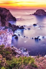 Preview iPhone wallpaper Beautiful coast, sea, beach, sunset, stones