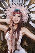 Preview iPhone wallpaper Beautiful girl, asian, feathers hat