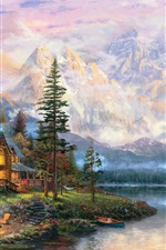 Preview iPhone wallpaper Beautiful painting, mountains, river, house, trees