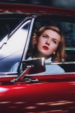 Preview iPhone wallpaper Blonde girl in red car