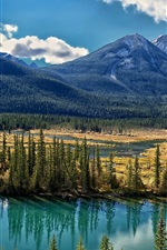 Preview iPhone wallpaper Bow River, Alberta, Canada, trees, mountains, clouds
