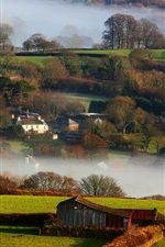 Preview iPhone wallpaper Britain, countryside, winter, fog, morning, houses