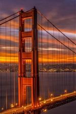 Preview iPhone wallpaper California, San Francisco Bridge, Golden Gate, beautiful evening, dusk, lights