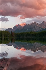 Preview iPhone wallpaper Canada, Banff National Park, Rocky Mountains, Herbert Lake, coniferous forest