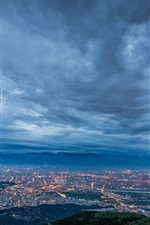 Preview iPhone wallpaper China, Taiwan, Taipei City, evening, twilight, dark blue, lights
