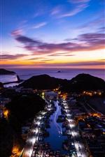 China, Taiwan, Insel, Meer, Sonnenuntergang, Stadt Nacht