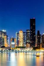 Preview iPhone wallpaper City, New York, Manhattan, night, skyscrapers, buildings, lights, water