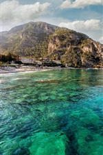 Preview iPhone wallpaper Coast, blue sea, summer, mountains, city, houses