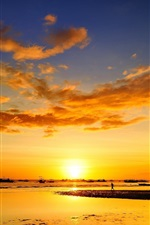 Preview iPhone wallpaper Coast, sunset, sea, people, sailing, ship