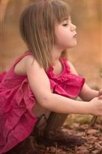 Preview iPhone wallpaper Cute little girl holding rose flower