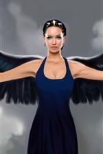 Preview iPhone wallpaper Fantasy art angel, black wings, blue dress