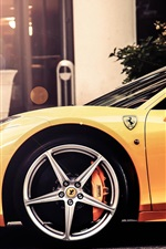 Preview iPhone wallpaper Ferrari 458 Italia yellow supercar side view