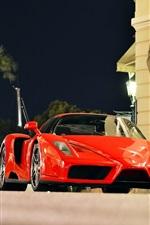 Preview iPhone wallpaper Ferrari Enzo red supercar, city of Monaco, night