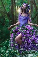 Preview iPhone wallpaper Flowers clothes, girl, forest, sun