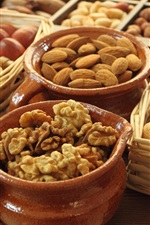 Preview iPhone wallpaper Food, nuts, almond, walnut, acorn, basket, pots