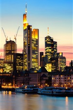 Frankfurt am Main, Germany, city, evening, sunset, lights, skyscrapers