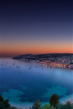 Riviera Francesa, panorama da noite, baía, crepúsculo, pôr do sol, Mônaco