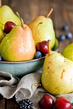 Preview iPhone wallpaper Fruits, pears, cherries, blackberries, blueberries