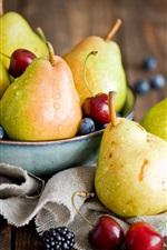 Fruits, pears, cherries, blackberries, blueberries