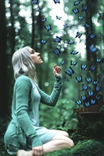 Preview iPhone wallpaper Girl with butterfly in the forest, design
