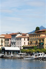 Preview iPhone wallpaper Italy, Lake Como, Lombardy, buildings, pier, mountains