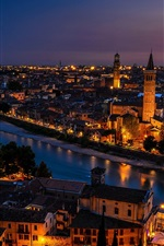 Italy, Verona, city, houses, sunset, dusk, lights