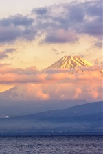 Japan, Fuji volcano, lake, clouds, dusk